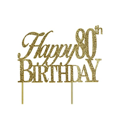 All About Details Gold Happy 80th Birthday Cake Topper