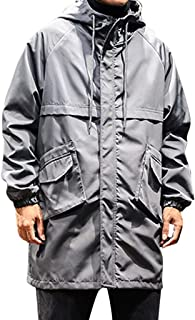 Men's Autumn Winter Casual Tops Mid-Length Hoodie Outdoor Sport Windbreaker Coat