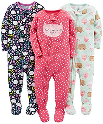 Simple Joys by Carter's Toddler Girls' 3-Pack Snug-Fit Footed Cotton Pajamas, Sweets/Floral/Kitty, 3T