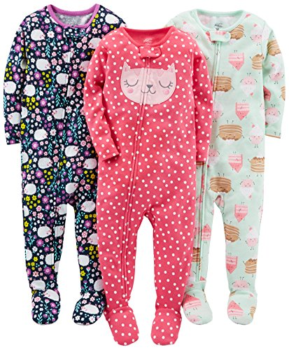 Simple Joys by Carter's Toddler Girls' 3-Pack Snug-Fit Footed Cotton Pajamas, Sweets/Floral/Kitty, 5T