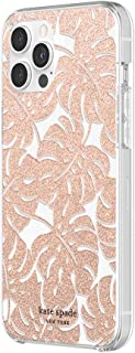 kate spade new york Protective Hardshell Case Compatible with iPhone 12 Pro Max - Island Leaf Pink Glitter/Clear/Blush Bumper