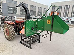 Wood Chipper Tractor Attachment 3 Point PTO Cutter Mulcher Shredder, Hydraulic Feed, 200lb Flywheel, Fits Tractors 19 HP+, Cat 1 Cat 2, 3-Point Hitch, 8 x 8 Inch Feed, 1 Yr Parts Warranty, Model WC8H