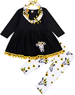 Toddler Girls Sunflower Outfits 3Pcs Baby Animal Cow Long Sleeve Ruffle Tunic Top+Floral Pants+Pompom Scarf Clothes Set