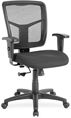 """Lorell Managerial Mesh Mid-Back Desk Chair, 2.6"""" Height X 75.8"""" Width X 27.3"""" Length, Black"""