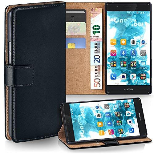 MoEx Premium Book-Case Handytasche kompatibel mit Huawei P9 Lite | Handyhülle mit Kartenfach und Ständer - 360 Grad Schutz Handy Tasche, Schwarz