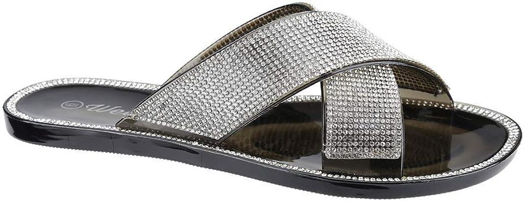 Women Jelly Slipper Max 90% OFF Rhinestone Flat Criss-cross Sandal Sale