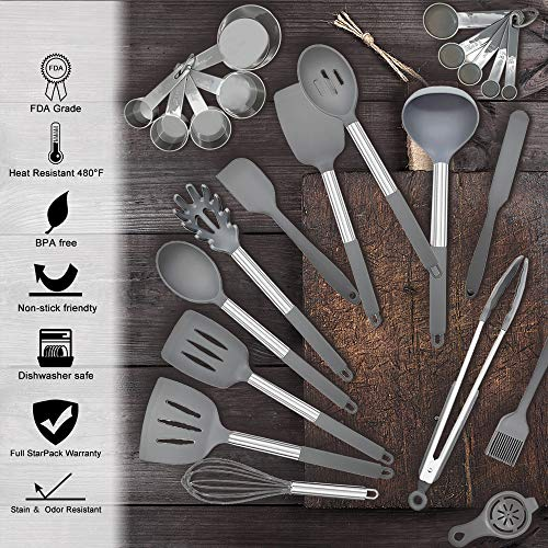 Kitchen Cooking Utensil Set, 36pcs Non-stick Silicone Kitchen Utensils Spatula Set with Holder, Stainless Steel Handle Heat Resistant Silicone Kitchen Gadgets Utensil Set (Gray)