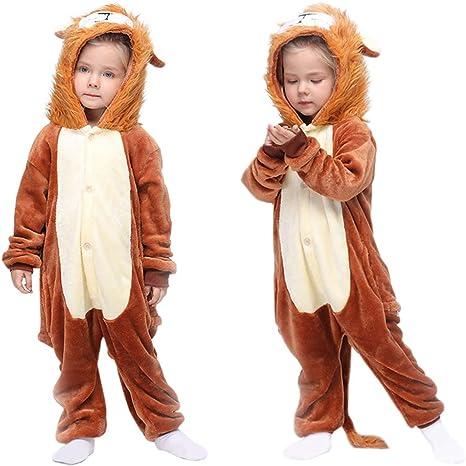 MMTX Pijamas Animal para Niñas Niños, Pijamas de León Pijamas Enteros de Animales con Capucha, Halloween Navidad Regalos para Niñas y Adolescentes ...
