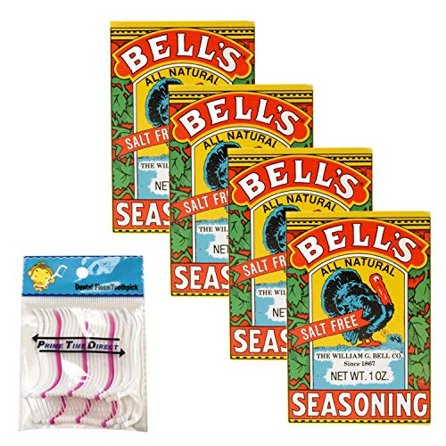 Bell's All Natural Seasoning 1 oz (Pack of 4) Bundle with PrimeTime Direct 20ct Dental Flossers in a PTD Sealed Bag
