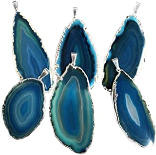 1 Teal Agate Pendant Plated in Silver Rock Paradise Exclusive Certificate of Authenticity (AM19B7-02)