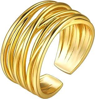 Goldchic Jewelry 7-28 Pezzi 1mm Anello Midi Da Donna Impilabile, Set Di Anelli a Fascia Normale In Acciaio Inossidabile, M...