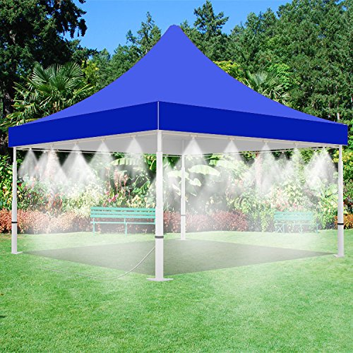 Misting Tent - Blue Tent with Mist System - for Outdoor Events - with Low Pressure Misting System- Easy to Set-Up (10' x 10' Blue Tent)