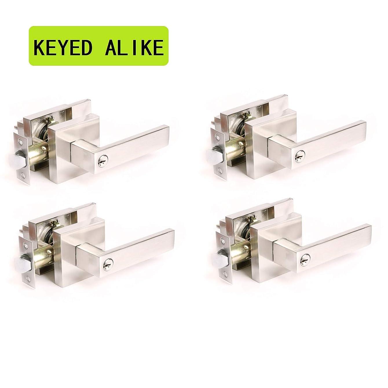 4 Pack Brushed Nickel Finish Flat Lever(Keyed Alike/Combo Keys) Keyed Entry Door Lock/Door Knob Hardware Knob Lever and Front Door Leverset Lockset, 2.2 lb One Lever, Left or Right Handing