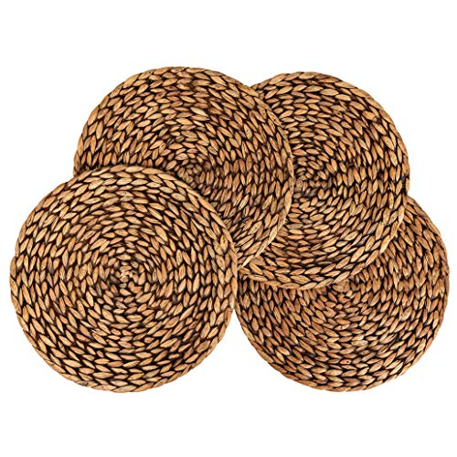 CENBOSS Beautiful Woven Placemats Round Placemats for Dining Table (Brown