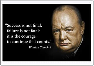 Motivational Winston Churchill Quotes Poster Large (Success is not final, failure is not fatal: it is courage to continue that counts) Young N Refined – (18x24)