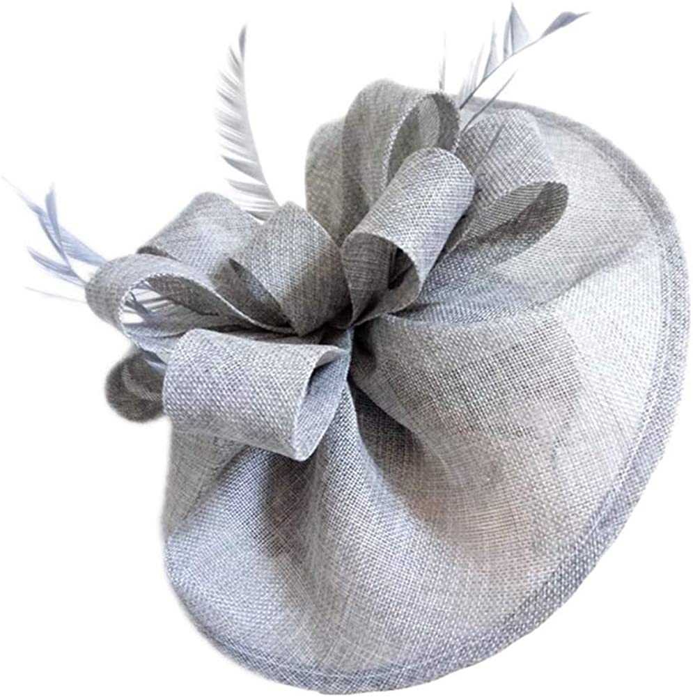 CHUANGLI Retro Fascinator Hats Bowknot Feather Headwear Cocktail Party Hats Bridal Derby Headband