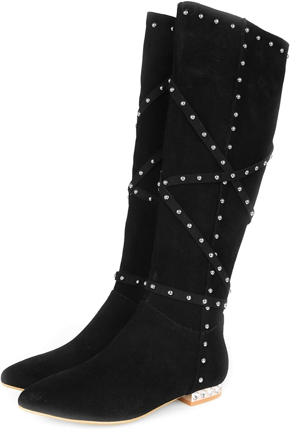 Nine Seven Suede Womens Low Heel Pointed Toe Studded Side Zip Knee High Boot