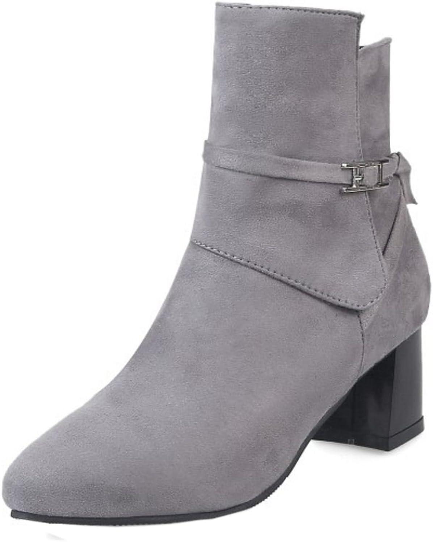 KemeKiss Women Comfort Mid Block Heel Bootie Boots Side Zipper