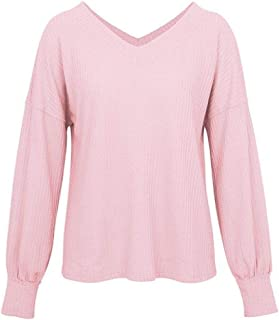 KLJR Women's Long Sleeve Blouse Casual V Neck Waffle Plain Blouse Top T-Shirts