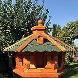 DARLUX Vogel Futter Haus L Futterstelle Sechseck aus Holz Vogelhaus Braun/Grün