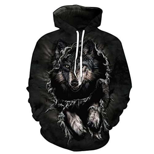 2c47e4b6f38e Momola Unisex 3D Printed Wolf Pullover Long Sleeve Hooded Sweatshirt Tops  Hoodies For Men and Women