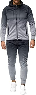 BiuBuy Mens Autumn Dyeing Zipper Print Sweatshirt Top Pants Sets Sport Suit Tracksuit