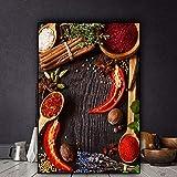 yhyxll Arte de Pared de Estilo nórdico Granos Vegetales Especias Cuchara Cartel de Cocina Cuadro de Lienzo Modular Decoración Moderna para el hogar Pintura B 30x40cm