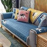 MissZZ Funda de sofá seccional Acolchada para sofá de Cuero, Funda de sofá Antideslizante para sofá de 3 Cojines, Funda Protectora de sofá Lavable para Mascotas, Perros, Azul Marino, 70x180cm (28x7