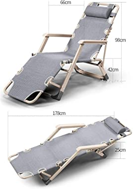 Garden Chairs recliners Folding Deck Chairs with Pillow, Patio Outdoor Adjustable Dining Reclining Folding Chairs for Deck Patio Beach Yard Metal