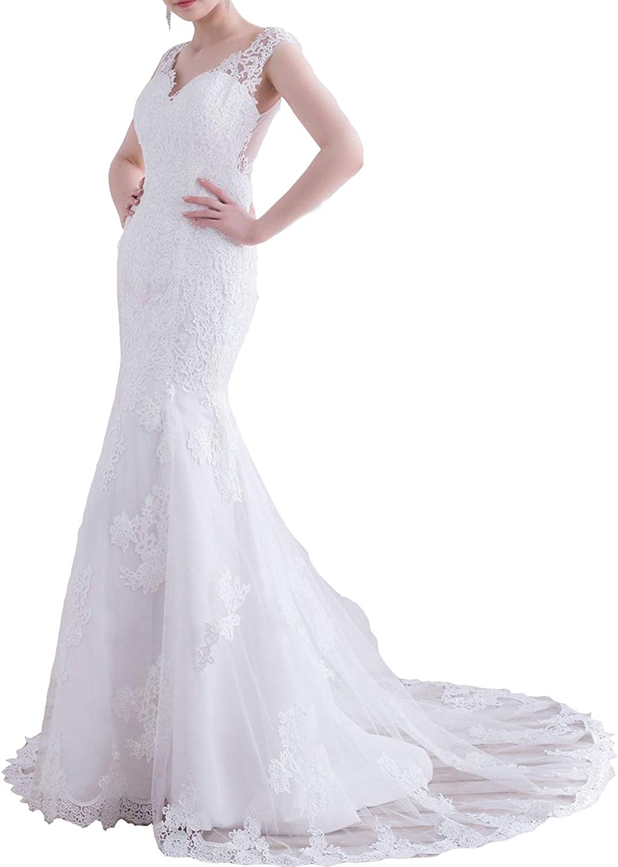 JoyVany Women's VNeck Lace Mermaid Wedding Dress 2019 Formal Gowns with Train JW033