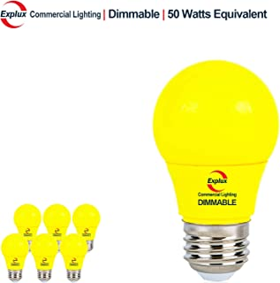 Explux Yellow Color A15 LED Bug Light Bulbs, Dimmable, High Output 50W Equivalent, Bedroom Night Light, 6-Pack