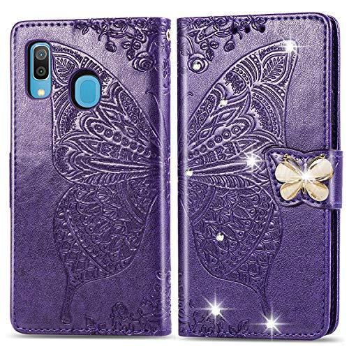 HMTECH Huawei Y6 2019 Hülle,Huawei Y6 2019 Handyhülle Prägung Diamant Schmetterling Blumen Flip Case PU Leder Cover Magnet Schutzhülle Handytasche für Huawei Y6 2019,SD Bling Butterfly Dark Purple