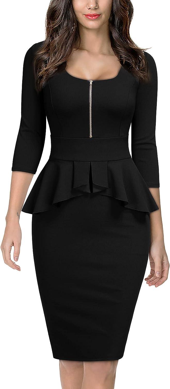 Miusol Women's Retro Square Neck Ruffle Style Slim Business Pencil Dress