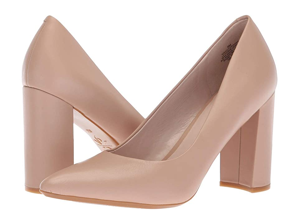 Nine West Astoria Block Heel Pump (Light Natural Leather) High Heels