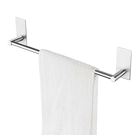 Amazon Com Nearmoon Self Adhesive Bathroom Towel Bar Stainless Steel Bath Wall Shelf Rack Hanging Towel Stick On Sticky Hanger Contemporary Style No Drilling Brushed Nickel Finish 16 Inch Towel Rack Kitchen Dining