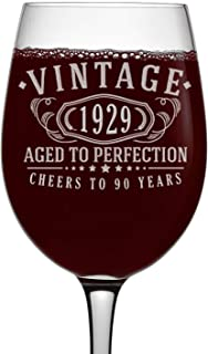 Vintage 1929 Etched 16oz Stemmed Wine Glass - 90th Birthday Aged to Perfection - 90 years old gifts