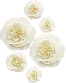 Letjolt Artificial Paper Peony Paper Flower Decorations for Wall Thanksgiving Backdrop Wedding Ornaments Baby Shower Bridal Shower Nursery Wall Decor(Beige Set 6)