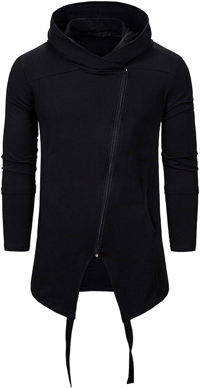 Men's Jackets With Pocket,Solid Color Long Hooded Loose Punk Coats V614