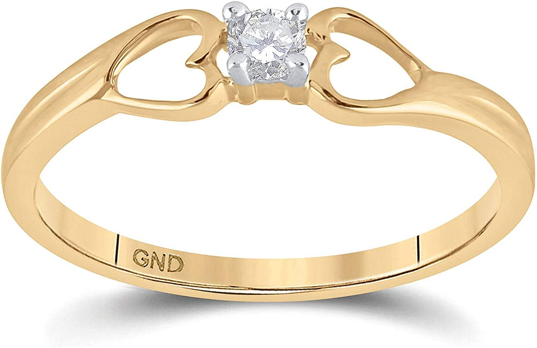 Detroit Mall 10kt Yellow Gold Womens Round Ri Heart Promise Diamond Solitaire overseas