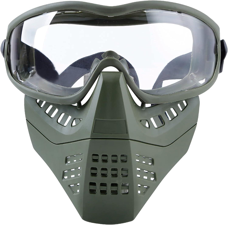 FOJMAI Airsoft Mask Paintball Máscara táctica CS Juego Protección Máscara con gafas para casco rápido
