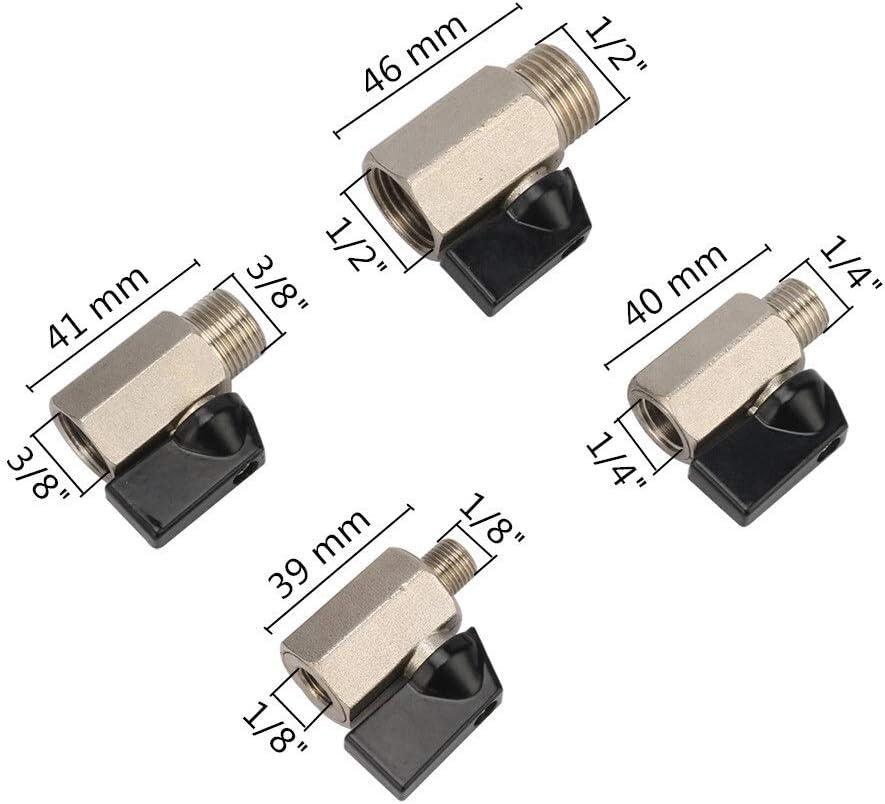 Kugelhahn 1//8 1//4 3//8 1//2 Gewinde Mini Messingkugelventil BSP m/ännlich zu weiblich-Luftverdichter Ventile Wasser Gas /Öl Absperrventil Specification : 1//2