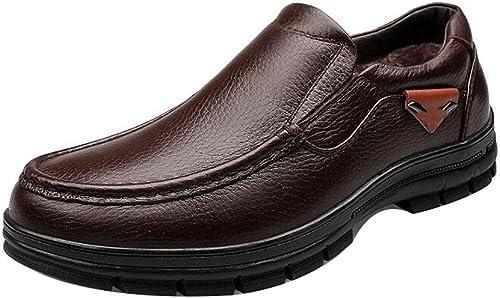 SAYYN Hommes Peau de vache Ajouter du coton Garde au chaud Extérieur Alpinisme Fond épais Couleur unie Chaussures Oxford Taille 38-44 , marron , 42