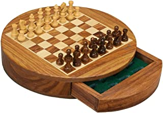 Chess Set Chess Board Circle Magnetic Chess Set Solid Wood Drawer Chess Portable Non-Slip Pieces Box Exquisite Convenient ...