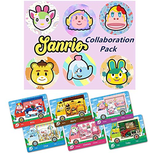 LJSCWH 6pcs NFC Tag Cards Amiibo Cards Sanrio Collaboration Pack, (Rilla, Marty, étoile, Chai, Chelsea, Toby) ,Juegos de Switch compatibles New Horizons