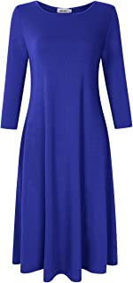Womens Pullover 3/4 Long Sleeve and Short Sleeve Pocket Loose Midi Casual Dress