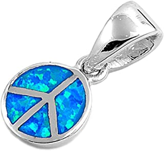 Peace Sign Pendant Blue Simulated Opal .925 Sterling Silver Charm - Silver Jewelry Accessories Key Chain Bracelet Necklace Pendants