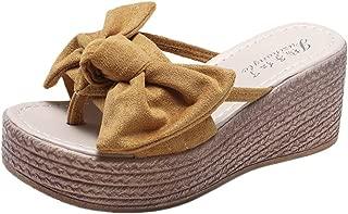 🌟Sherostore🌟 Women's Low Platform Wedge Slides Sandals Open Toe Butterfly-Knot Beach Shoes Roman Slippers Sandals