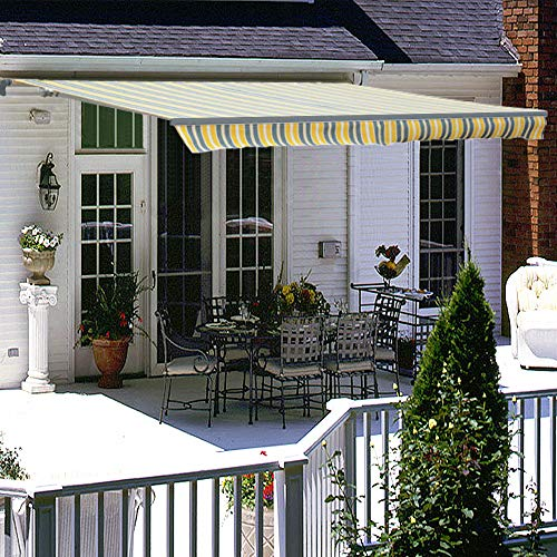 Greenbay 4 x 3m Retractable Manual Awning DIY Patio Garden Sun Shade Canopy Gazebo with Fittings and Crank Handle (Yellow-Stripe)