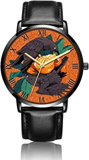 Customized Cats Wrist Watch, Black Leather Watch Band Black Dial Plate Fashionable Wrist Watch for Women or Men