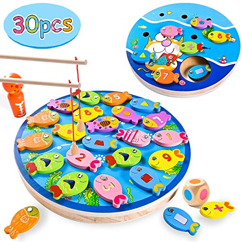 Joyjoz Gioco Pesca per Bambini 4 in 1, 30 PZ Giochi di Legno con Calamita, Giochi Montessori, Regalo Educativo per Bambini di 3, 4, 5 Anni